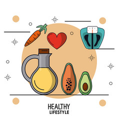 Colorful poster of healthy lifestyle with vegetal vector
