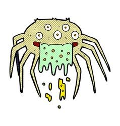 Comic cartoon gross halloween spider vector