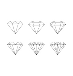 Diamonds gemstones faceting patterns on a vector image vector image