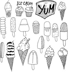 doodle ice cream vector image vector image