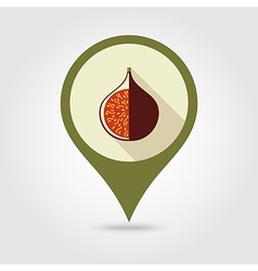 Fig flat pin map icon tropical fruit vector