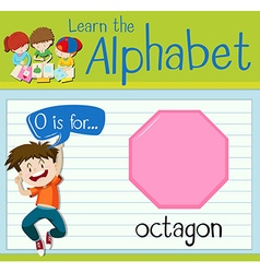 Flashcard letter o is for octagon vector