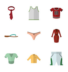 Flat garment set of beach sandal banyan trunks vector