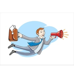 Flying business hero Business idea concept vector image
