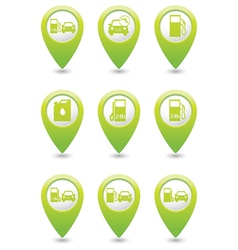 Gas station icons on green map pointers vector image