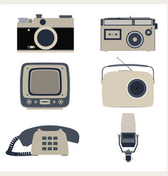 Icon retro flat communication graphic global vector