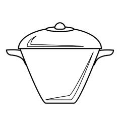 Iron saucepan icon outline style vector