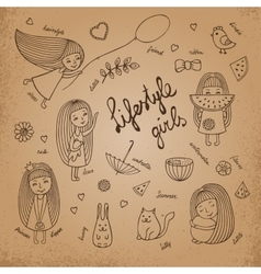 Lifestyle girls retro vector image vector image