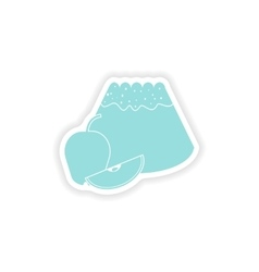 Paper sticker on white background apple cake vector