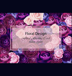 rose flowers card background blue and violet vector image vector image