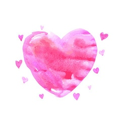 Watercolor pink heart vector