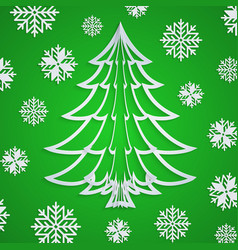 White paper christmas tree on the green vector
