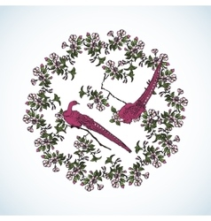 Japanese wreath from sacura and little birds vector image