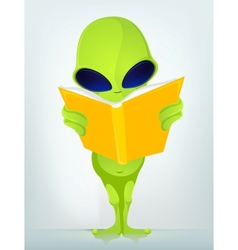 Cartoon book reading alien vector