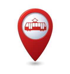 Map pointer with tram icon vector
