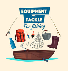 Fishing equipment and fisher tackle set vector