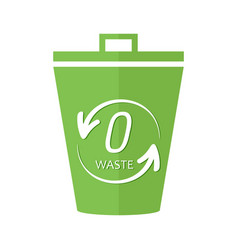 Bucket trash garbage can with zero waste sign vector