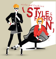 the fashionable girl in style pop art vector image