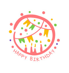 Happy birthday promo sign childrens party vector