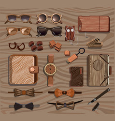 Hipster wooden accessories collection vector