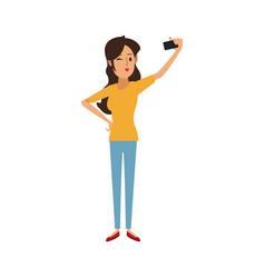 young woman cartoon taking selfie vector image