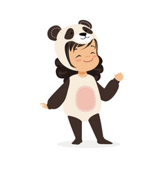 Cute happy little girl dressed as a panda kids vector