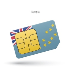 Tuvalu mobile phone sim card with flag vector