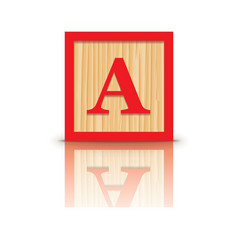 Letter a wooden alphabet block vector