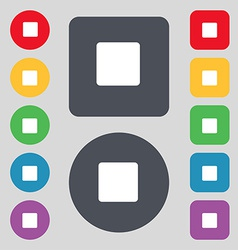 Stop button icon sign a set of 12 colored buttons vector
