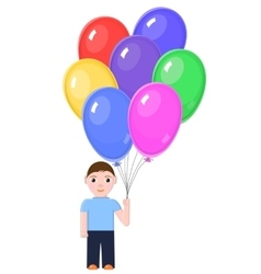 Boy with colorful balloons vector