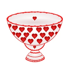 Bowl of fruit with red hearts ceramic tableware vector
