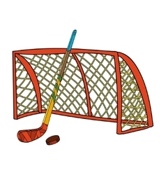 Set of hockey stick puck and gate vector