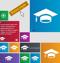 Graduation icon sign buttons modern interface vector