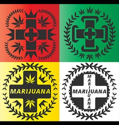 Medical cannabis leaf cross symbol design vector