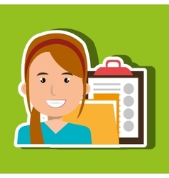 Woman with folder and clipboard isolated icon vector