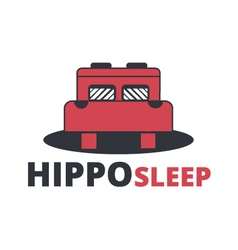 Abstract logo template hippo sleep vector