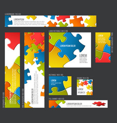 banner templates collection with abstract puzzle vector image