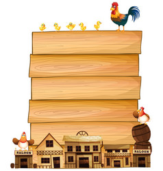 Board template with western town and chickens vector