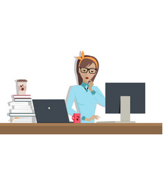 Business woman works on his desktop vector