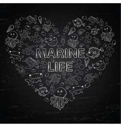 Chalk board marine life in the form of heart vector