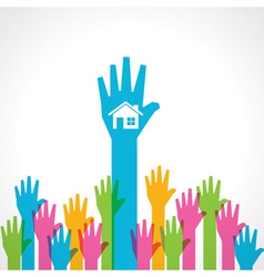 Colorful helping hand with home vector image vector image