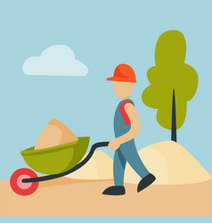 Construction site worker handcart industry vector
