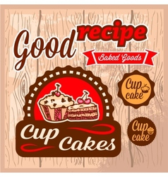 cup cakes labels vector image vector image
