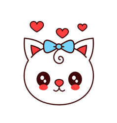 cute smiling funny catkitten face vector image vector image