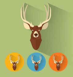 deer portrait with flat design vector image vector image