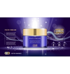 Digital glass face cream purple container vector