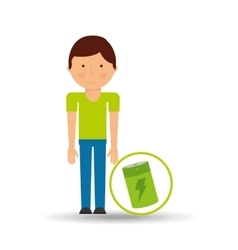 environment icon boy with green battery vector image
