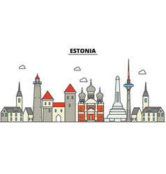 estonia talinn city skyline architecture vector image