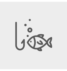 Fish is looking on a fish hook thin line icon vector image