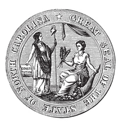 Great seal or hallmark of North Carolina vintage vector image
